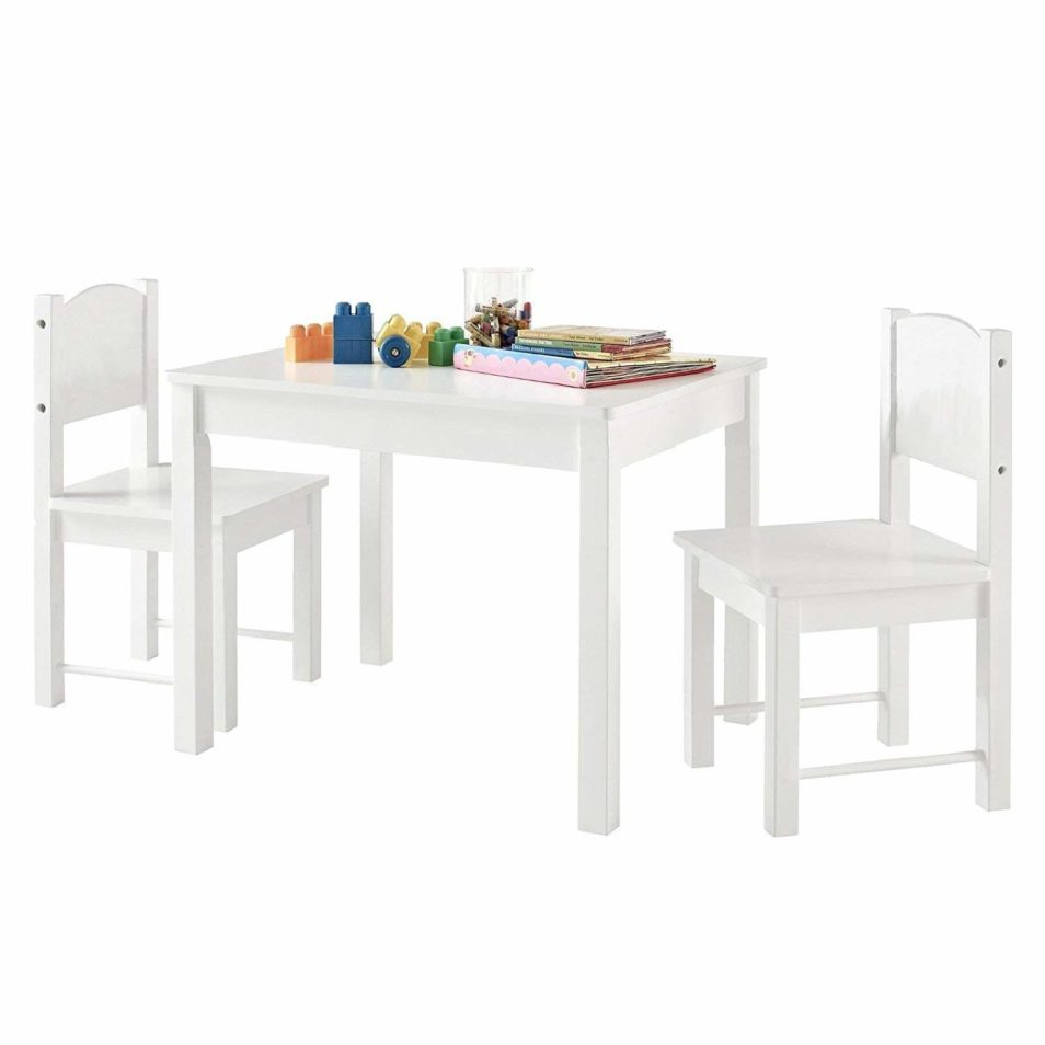 Timy Wooden Kids Table And 2 Chairs Set